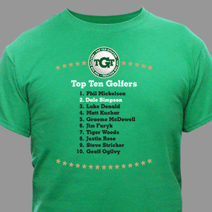 Personalized Top Ten Golfers Novelty T-shirt