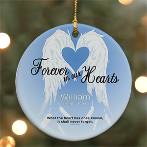 Personalized Forever In Our Hearts Ceramic Ornament