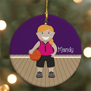 Personalized Ceramic Girl Basketball Ornament