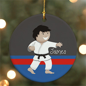 Personalized Ceramic Boy Karate Boy Ornament