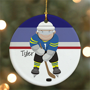Personalized Ceramic Hockey Ornament