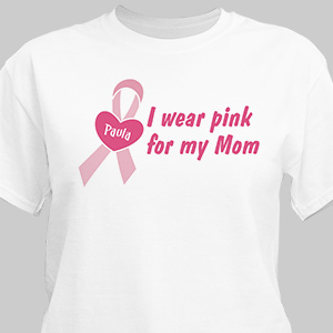 Personalized I Wear Pink Breast Cancer Awareness T-Shirt