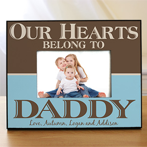 Personalized Our Hearts Belong To Daddy Printed Picture Frame