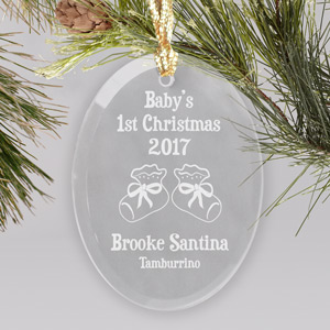 Baby's 1st Christmas Glass Oval Ornament