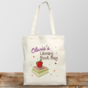 Personalized Library Book Tote Bag