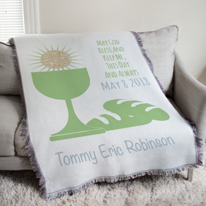 First Communion Eucharist Green Tapestry Throw