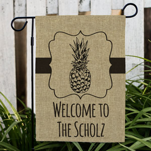 Personalized Pineapple Welcome Flag