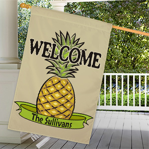 Personalized Pineapple Welcome House Flag