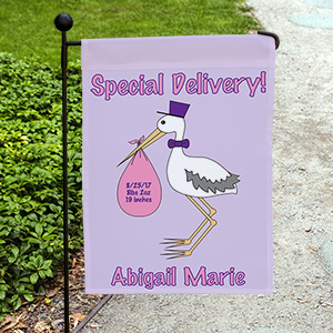 Special Delivery Baby Girl Announcement Garden Flag