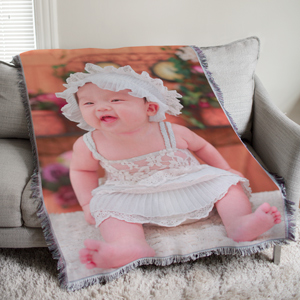 Personalized New Baby Photo Tapestry Throw