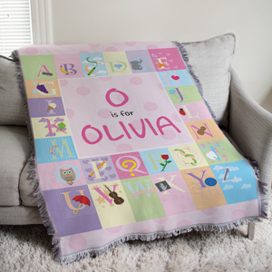 Personalized Pink Alphabet Baby Tapestry Throw