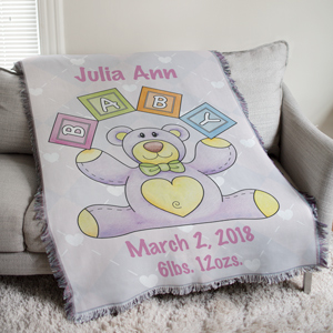 Personalized Baby Girl Teddy Bear Tapestry Throw