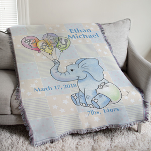 Personalized Baby Boy Elephant Tapestry Throw