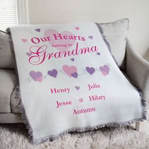 Our Hearts Belong To Personalized Tapestry Throw