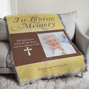 Personalized In Loving Memory Photo Tapestry Throw
