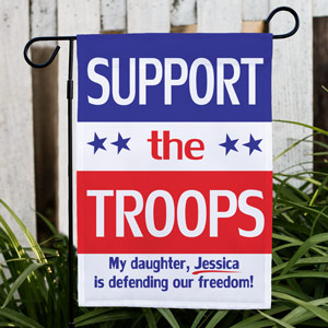 Personalized Support Our Troops Garden Flag