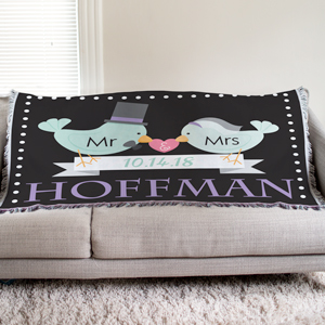 Personalized Newlywed Tapestry Throw