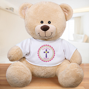 God Bless Personalized Teddy Bear -Pink Design