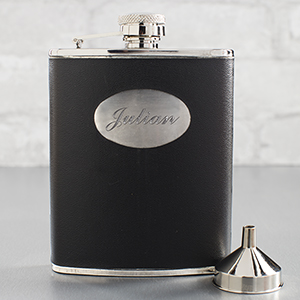 Personalized Black Leatherette Flask