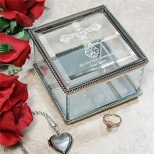 Engraved Cross Glass Jewelry Box
