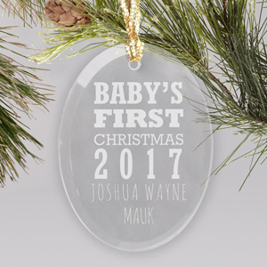 Engraved Baby's First Christmas Glass Ornament