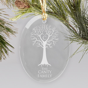 Engraved Family Tree Oval Glass Ornament