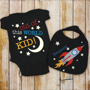 Personalized Out Of This World Creeper and Bib Set