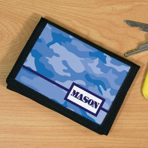 Personalized Blue Camo Velcro Wallet