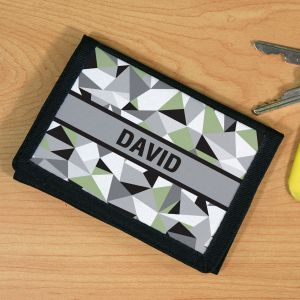 Personalized Jagged Squares Wallet
