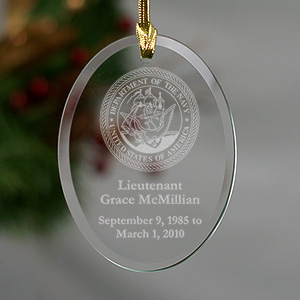 U.S. Navy Memorial Personalized Oval Glass Ornament