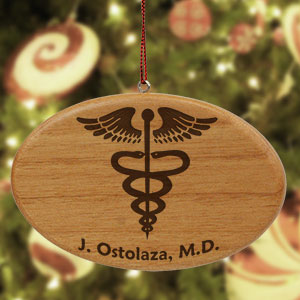 Engraved Medical Wooden Oval Ornament