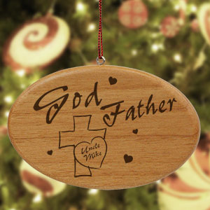 Engraved Godfather Wooden Holiday Ornament