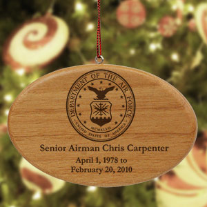 Engraved U.S. Air Force Memorial Wooden Oval Ornament