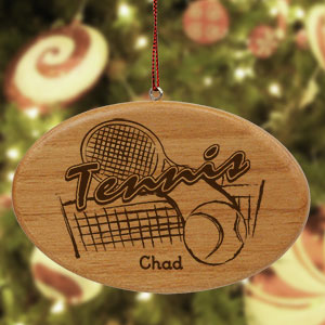 Engraved Tennis Wooden Oval Ornament