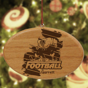 Engraved Football Player Ornament