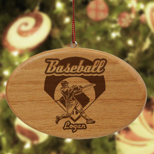 Engraved Baseball Wooden Oval Ornament