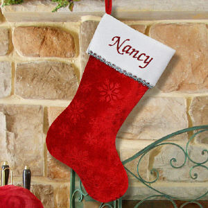 Red Velvet Christmas Stocking with Silver trim