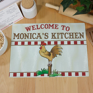 Rooster Kitchen Personalized Cutting Board