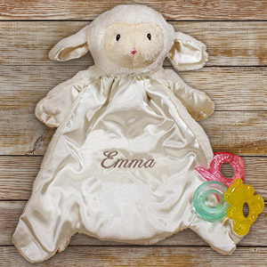 Personalized Baby HuggyBuddy Lamb Blanket