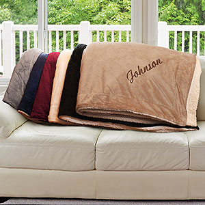 Embroidered Name Sherpa Blanket