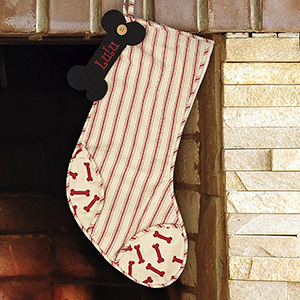 Embroidered Striped Dog Bone Stocking