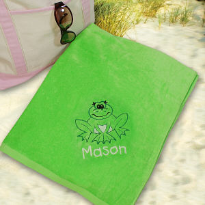 Embroidered Frog Beach Towel