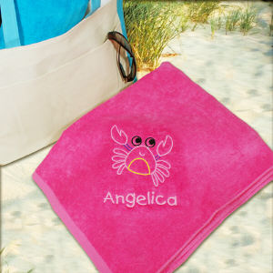 Embroidered Crab Pink Beach Towel