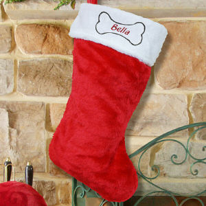 Festive Dog Treat Red Christmas Stocking
