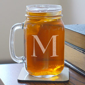 One Initial Mason glass jar