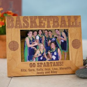 Engraved Basketball Wood Picture Frame