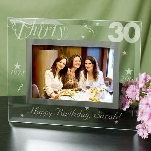 Personalized 30th Birthday Glass Picture Frame