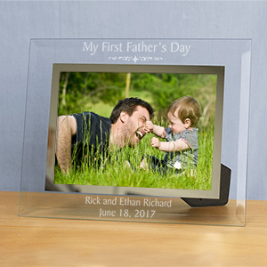 Engraved First Fathers Day Glass Picture Frame