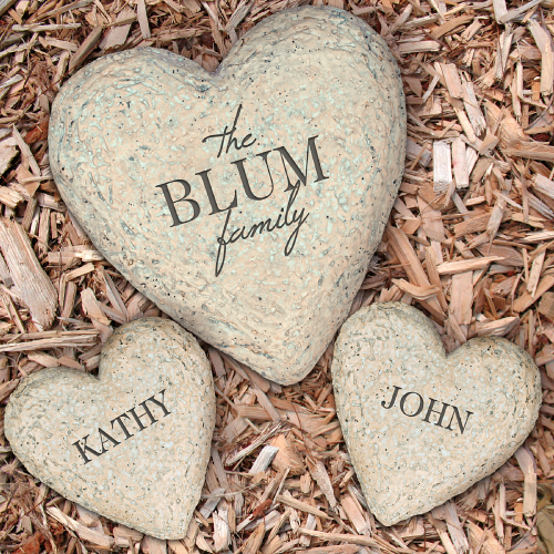 Engraved Heart Garden Stone