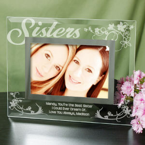 Engraved Sister Glass Picture Frame